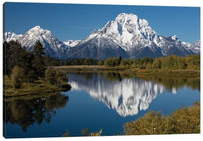 Reflection Of Mountain And Trees On Water, Teton Range, Grand Teton National Park, Wyoming, USA II Canvas Art Print