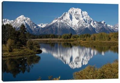 Reflection Of Mountain And Trees On Water, Teton Range, Grand Teton National Park, Wyoming, USA II Canvas Art Print