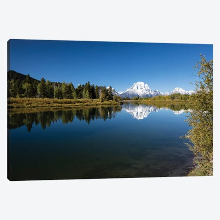 Reflection Of Mountain And Trees On Water, Teton Range, Grand Teton National Park, Wyoming, USA III Canvas Print #PIM14818} by Panoramic Images Canvas Artwork