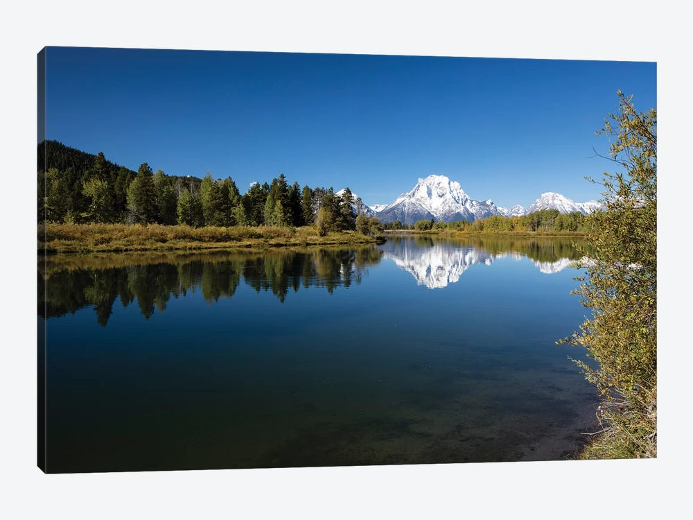 Reflection Of Mountain And Trees On Water, Teton Range, Grand Teton National Park, Wyoming, USA III by Panoramic Images 1-piece Canvas Wall Art