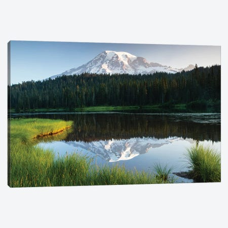 Reflection Of Mountain In Lake, Mount Rainier National Park, Washington State, USA I Canvas Print #PIM14821} by Panoramic Images Art Print