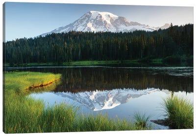 Reflection Of Mountain In Lake, Mount Rainier National Park, Washington State, USA I Canvas Art Print