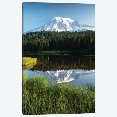 Reflection Of Mountain In Lake, Mount Rainier National Park, Washington State, USA II Canvas Print #PIM14822} by Panoramic Images Canvas Art Print