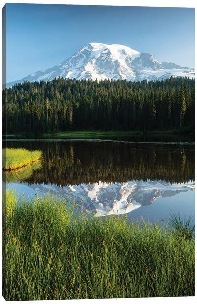 Reflection Of Mountain In Lake, Mount Rainier National Park, Washington State, USA II Canvas Art Print