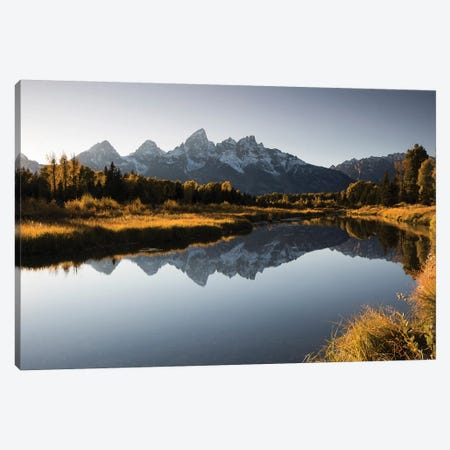 Reflection Of Mountain On Water, Teton Range, Grand Teton National Park, Wyoming, USA Canvas Print #PIM14823} by Panoramic Images Art Print
