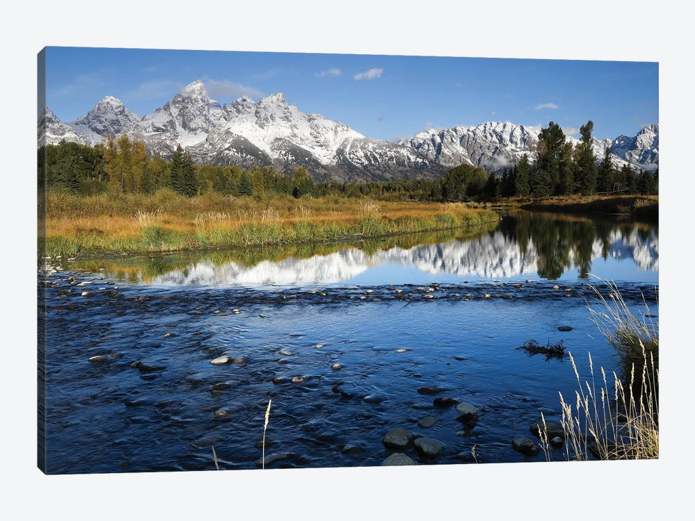 Reflection Of Mountain Range On Water, Teton Range, Grand Teton National Park, Wyoming, USA by Panoramic Images 1-piece Art Print