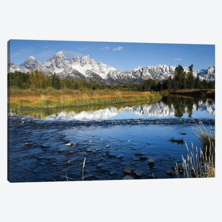 Reflection Of Mountain Range On Water, Teton Range, Grand Teton National Park, Wyoming, USA Canvas Print #PIM14824} by Panoramic Images Canvas Art