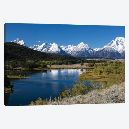 River With Mountain Range In The Background, Teton Range, Grand Teton National Park, Wyoming, USA Canvas Print #PIM14836} by Panoramic Images Canvas Print