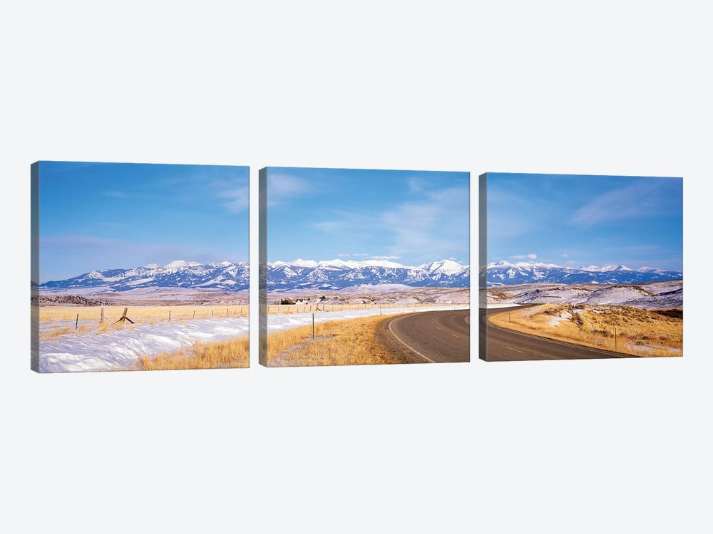 Road Passing Through A Landscape, Crazy Mountains, Montana, USA by Panoramic Images 3-piece Canvas Print