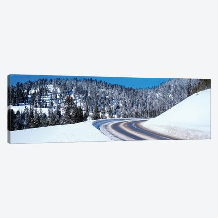 Road Passing Through A Snow Covered Landscape, Big Sky Resort, Montana, USA Canvas Print #PIM14843} by Panoramic Images Canvas Print