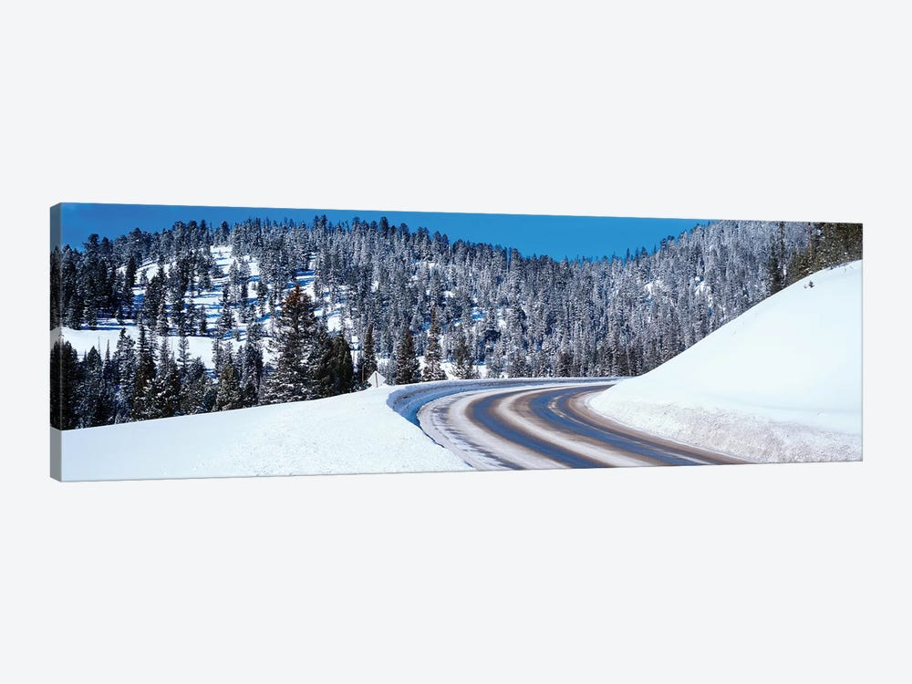 Road Passing Through A Snow Covered Landscape, Big Sky Resort, Montana, USA by Panoramic Images 1-piece Canvas Artwork
