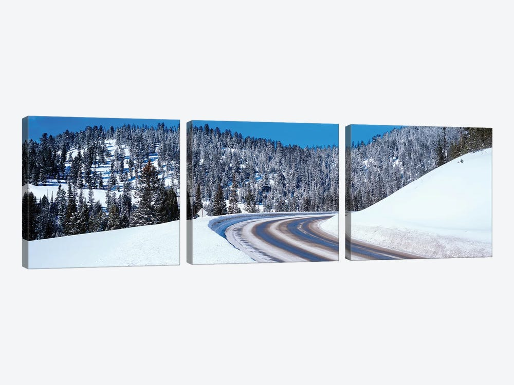 Road Passing Through A Snow Covered Landscape, Big Sky Resort, Montana, USA by Panoramic Images 3-piece Canvas Wall Art
