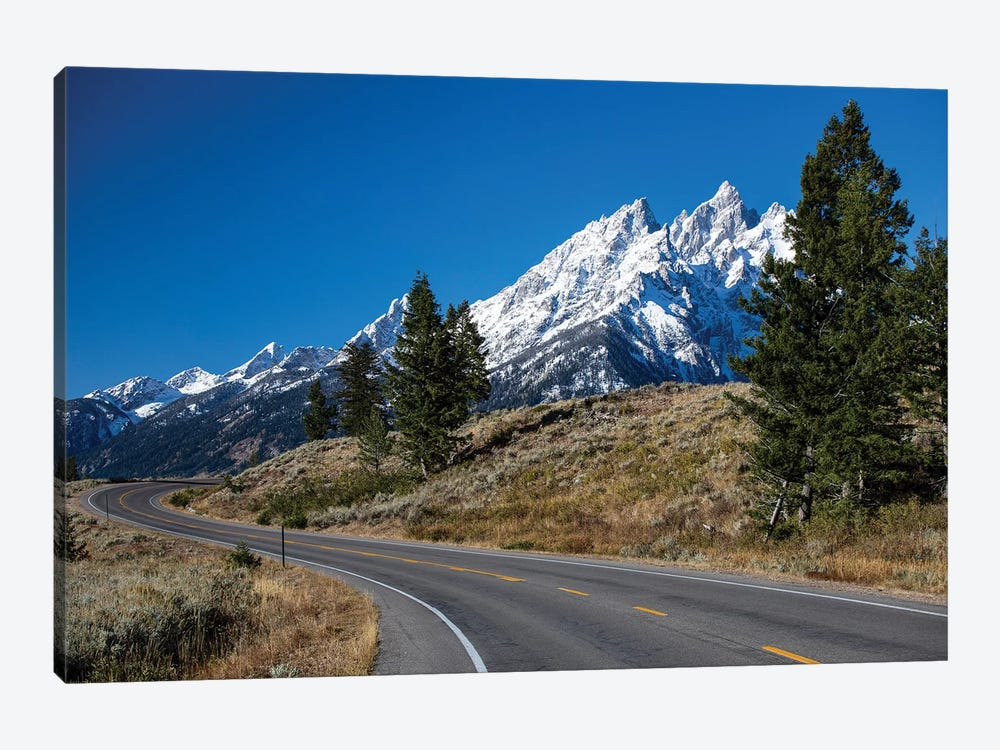 Road With Mountain Range In The Background, Teton Range, Grand Teton National Park, Wyoming, USA by Panoramic Images 1-piece Canvas Wall Art