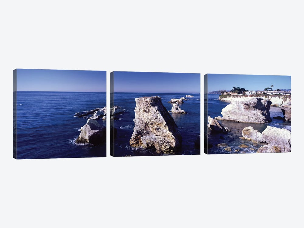 Rock Formations On The Coast, Avila Beach, San Luis Obispo County, California, USA by Panoramic Images 3-piece Canvas Print