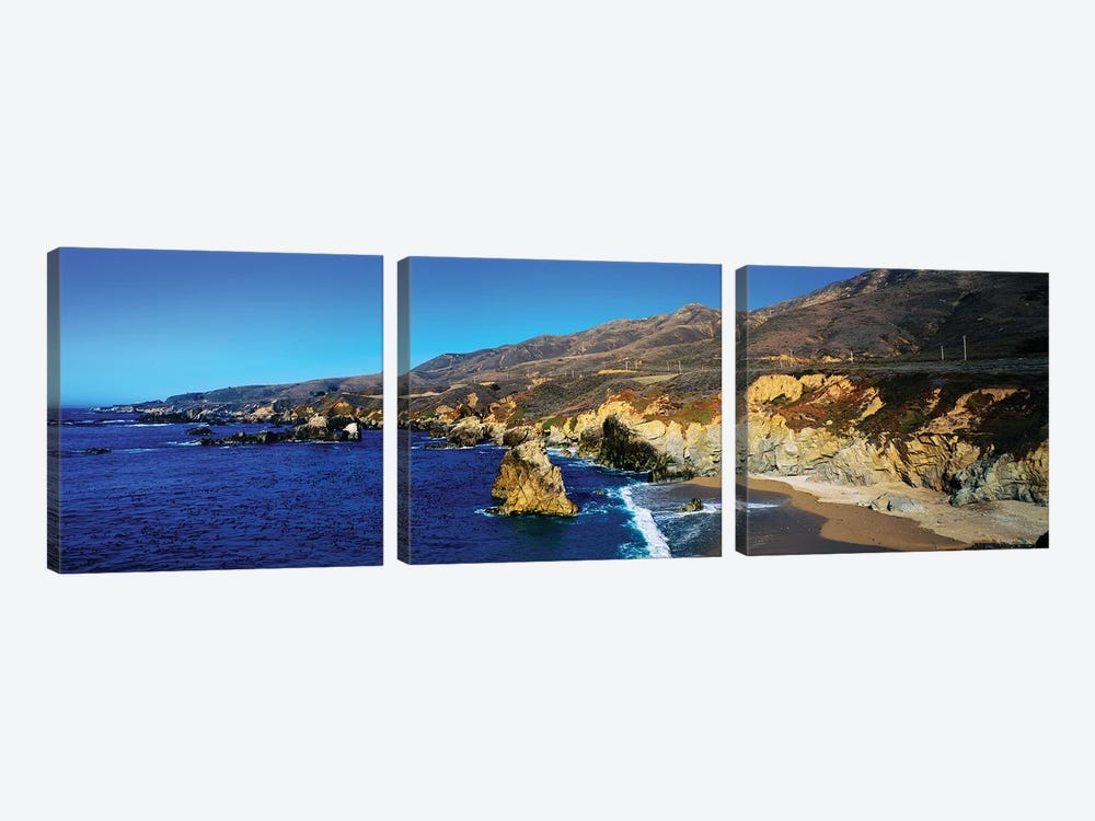 Rock Formations On The Coast, Big Sur, Garrapata State Beach, Monterey Coast, California, USA II by Panoramic Images 3-piece Canvas Print