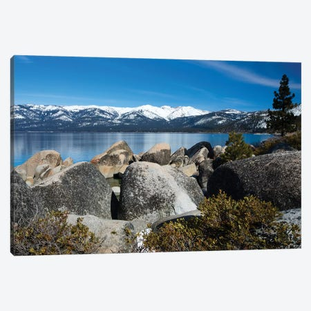 Rocks At The Lakeshore With Mountain Range In The Background, Lake Tahoe, California, USA Canvas Print #PIM14856} by Panoramic Images Canvas Print
