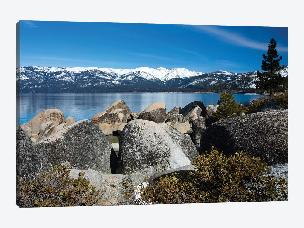 Rocks At The Lakeshore With Mountain Range In The Background, Lake Tahoe, California, USA by Panoramic Images 1-piece Canvas Artwork