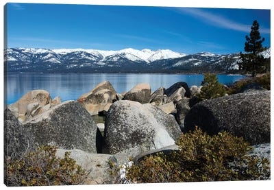 Rocks At The Lakeshore With Mountain Range In The Background, Lake Tahoe, California, USA Canvas Art Print