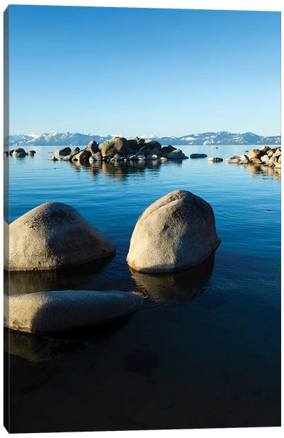 Rocks In A Lake, Lake Tahoe, California, USA II Canvas Art Print
