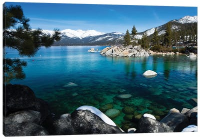 Rocks In A Lake, Lake Tahoe, California, USA V Canvas Art Print