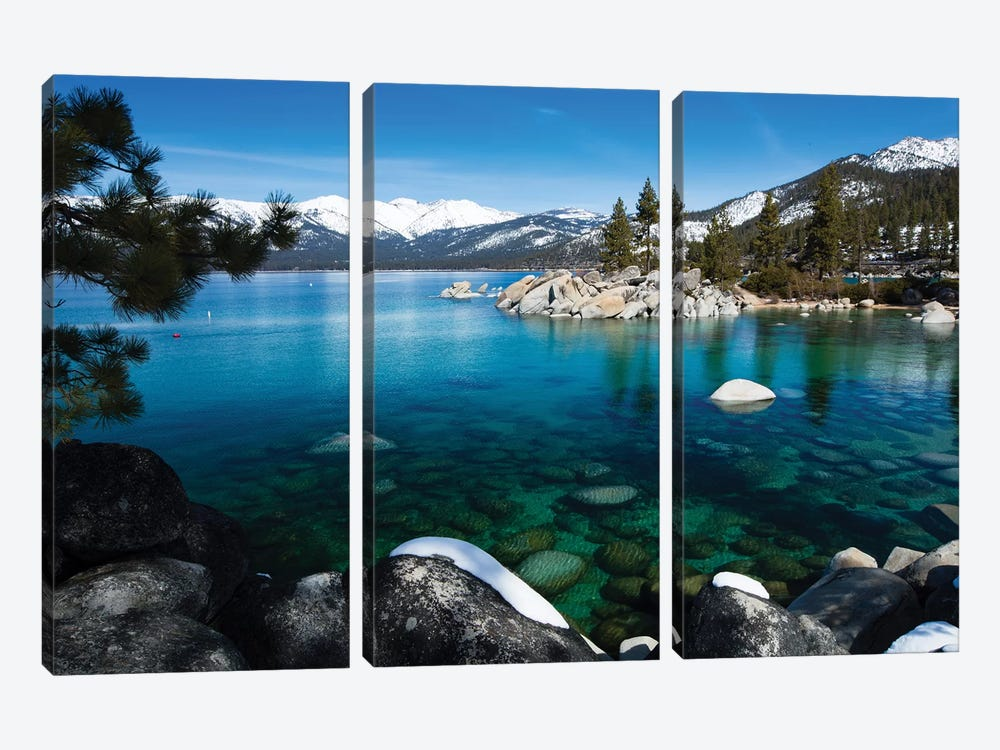 Rocks In A Lake, Lake Tahoe, California, USA V by Panoramic Images 3-piece Canvas Art Print