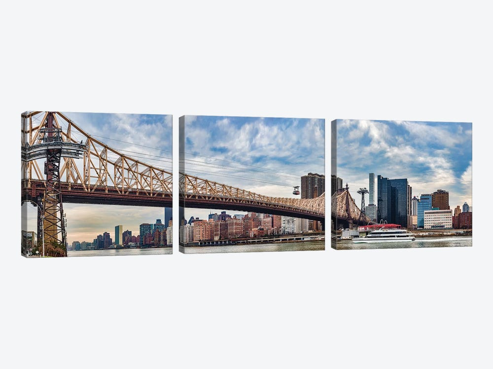 Roosevelt Island Tramway Over Queensboro Bridge Crossing The East River, Manhattan, NYC, New York State, USA by Panoramic Images 3-piece Canvas Wall Art