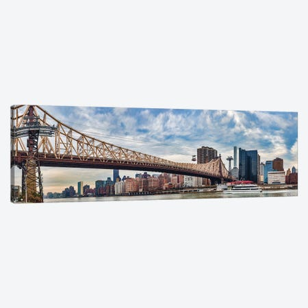 Roosevelt Island Tramway Over Queensboro Bridge Crossing The East River, Manhattan, NYC, New York State, USA 3-Piece Canvas #PIM14863} by Panoramic Images Art Print