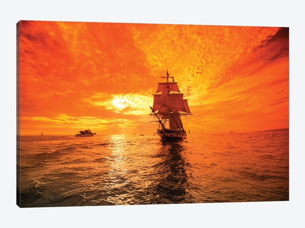 Sailboat And Tall Ship The Pacific Ocean, Dana Point Harbor, Dana Point, Orange County, California, USA I by Panoramic Images 1-piece Canvas Artwork