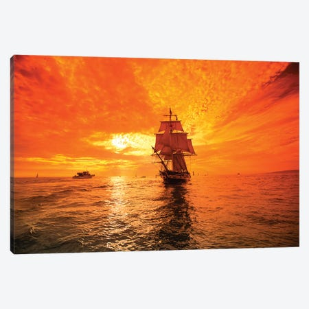 Sailboat And Tall Ship The Pacific Ocean, Dana Point Harbor, Dana Point, Orange County, California, USA I Canvas Print #PIM14865} by Panoramic Images Canvas Art