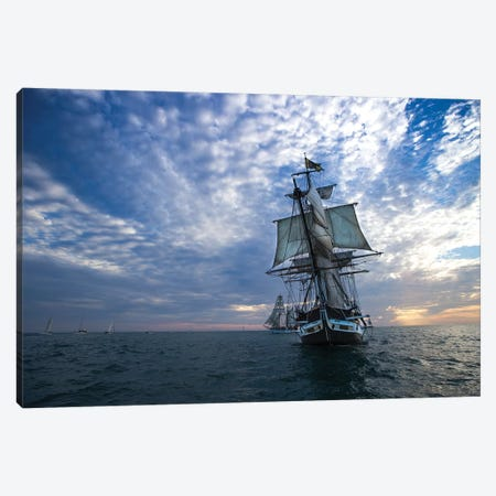 Sailboat And Tall Ship The Pacific Ocean, Dana Point Harbor, Dana Point, Orange County, California, USA III Canvas Print #PIM14867} by Panoramic Images Canvas Art