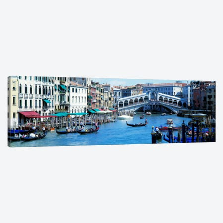 Rialto Bridge & Grand Canal Venice Italy Canvas Print #PIM1486} by Panoramic Images Canvas Wall Art