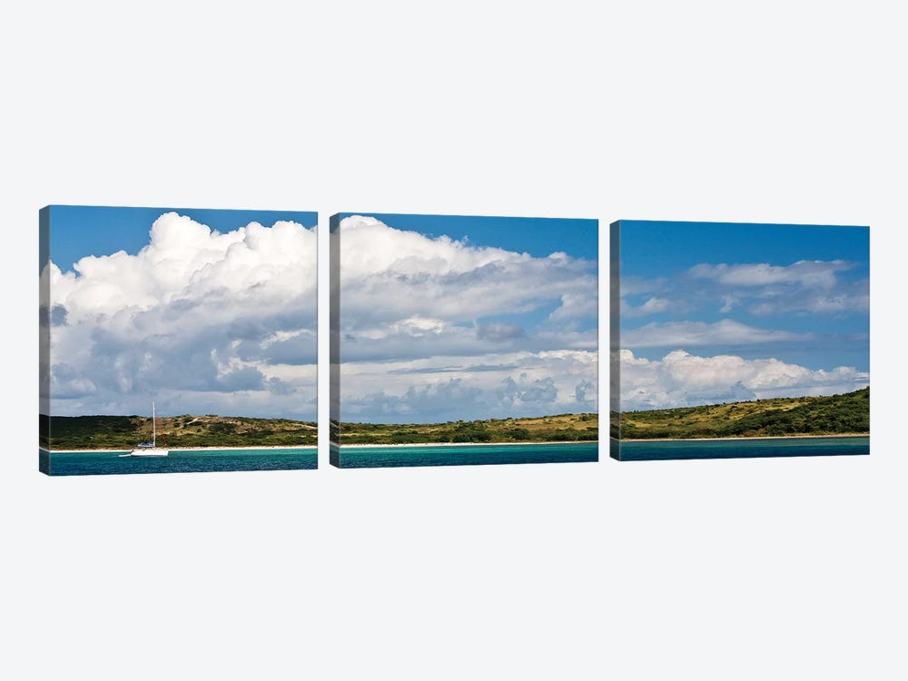 Sailboat In Sea, Culebra Island, Puerto Rico by Panoramic Images 3-piece Canvas Art Print