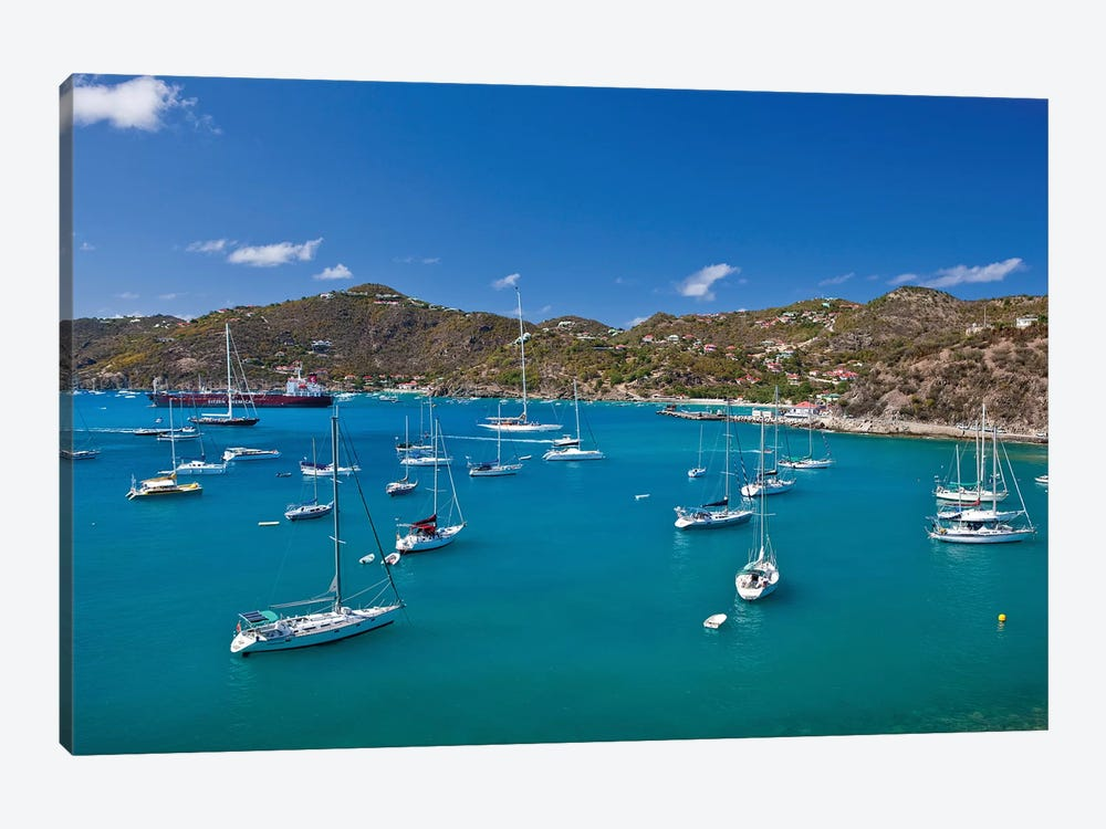 Sailboats In Sea, Saint Barthélemy, Caribbean Sea 1-piece Canvas Artwork