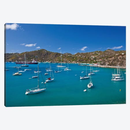 Sailboats In Sea, Saint Barthélemy, Caribbean Sea Canvas Print #PIM14876} by Panoramic Images Canvas Art Print