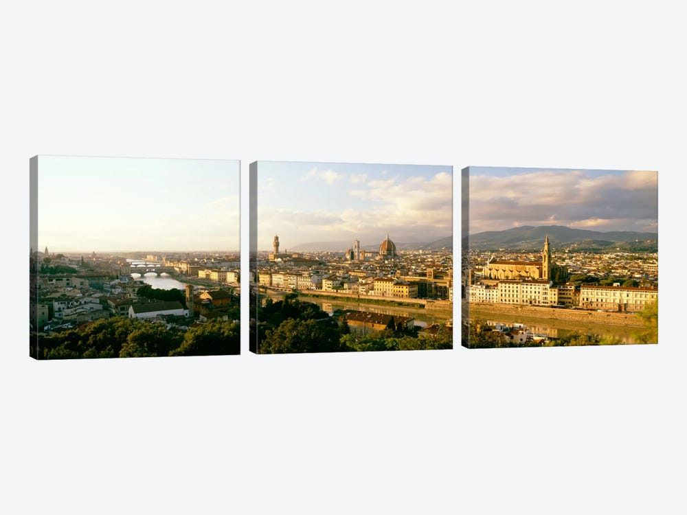 The Duomo & Arno River Florence Italy by Panoramic Images 3-piece Canvas Wall Art