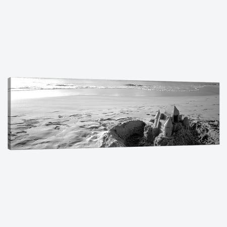 Sandcastle At Hapuna Beach, Big Island, Hawaii, USA (Black And White) Canvas Print #PIM14880} by Panoramic Images Canvas Art Print