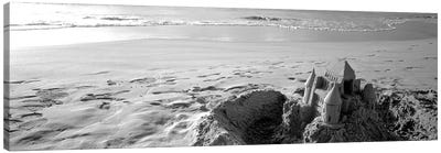 Sandcastle At Hapuna Beach, Big Island, Hawaii, USA (Black And White) Canvas Art Print