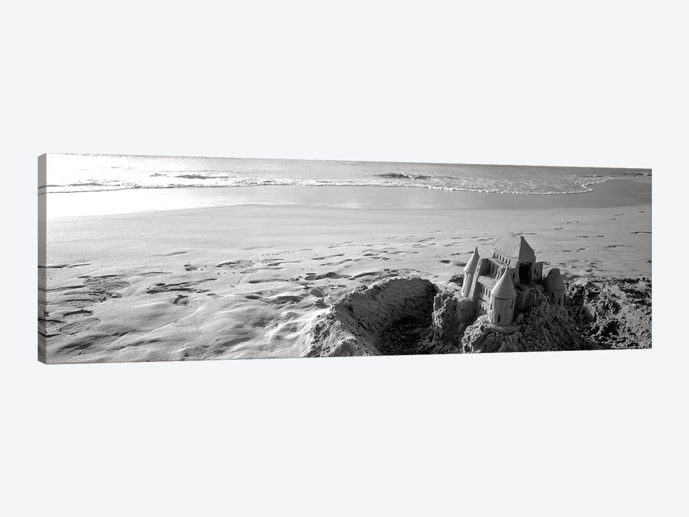 Sandcastle At Hapuna Beach, Big Island, Hawaii, USA (Black And White) by Panoramic Images 1-piece Canvas Print