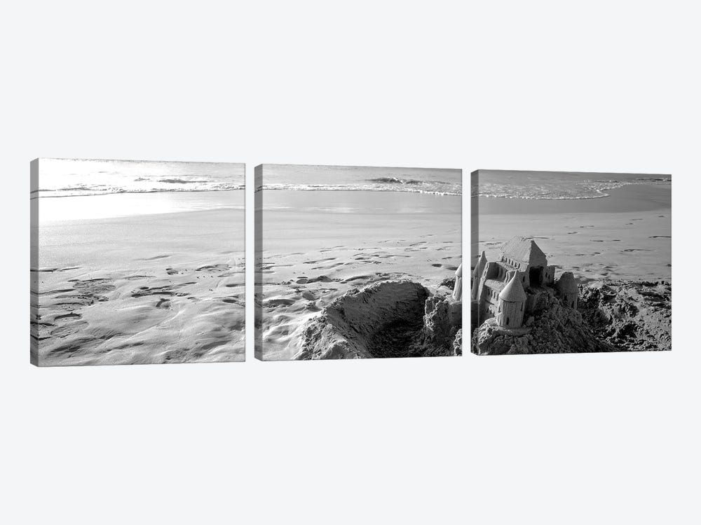 Sandcastle At Hapuna Beach, Big Island, Hawaii, USA (Black And White) by Panoramic Images 3-piece Canvas Print
