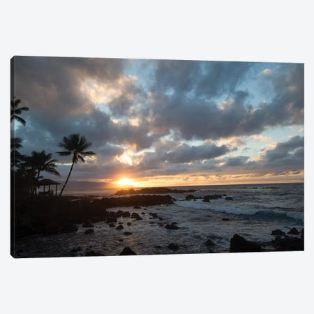 Scenic View Of Beach During Sunset, Hawaii, USA I Canvas Print #PIM14882} by Panoramic Images Canvas Art Print