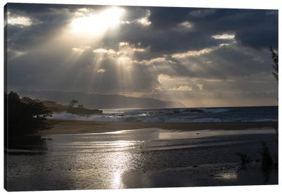 Scenic View Of Beach During Sunset, Hawaii, USA II Canvas Art Print