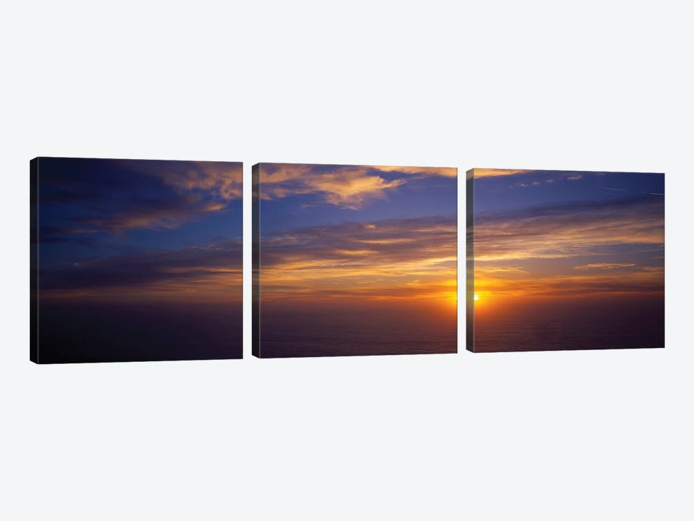Scenic View Of Pacific Ocean At Sunset, Kauai, Hawaii, USA 3-piece Art Print