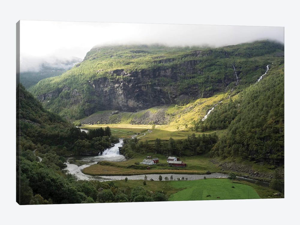 Scenic View Of River Flowing Through Valley, Flam, Sogn Og Fjordane County, Norway by Panoramic Images 1-piece Canvas Artwork