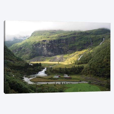 Scenic View Of River Flowing Through Valley, Flam, Sogn Og Fjordane County, Norway Canvas Print #PIM14887} by Panoramic Images Canvas Wall Art