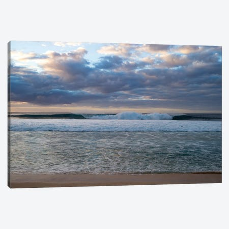 Scenic View Of Surf On Beach Against Cloudy Sky, Hawaii, USA I Canvas Print #PIM14888} by Panoramic Images Canvas Art Print