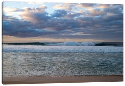 Scenic View Of Surf On Beach Against Cloudy Sky, Hawaii, USA I Canvas Art Print