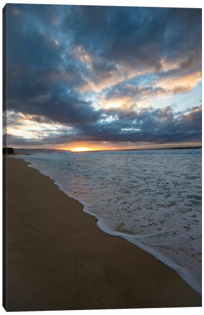 Scenic View Of Surf On Beach Against Cloudy Sky, Hawaii, USA II Canvas Art Print