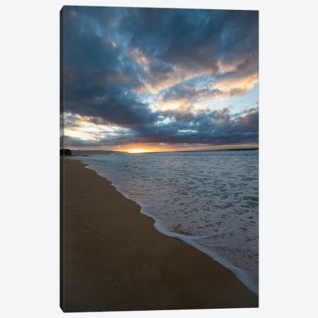 Scenic View Of Surf On Beach Against Cloudy Sky, Hawaii, USA II 3-Piece Canvas #PIM14889} by Panoramic Images Canvas Print
