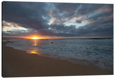 Scenic View Of Surf On Beach Against Cloudy Sky, Hawaii, USA III Canvas Art Print