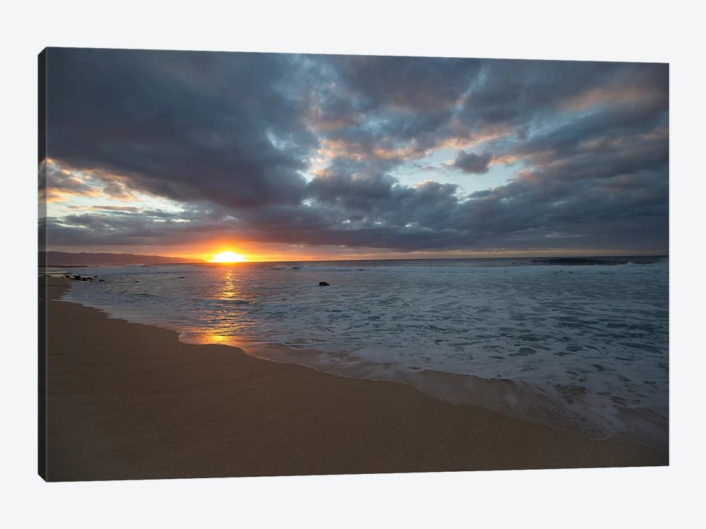 Scenic View Of Surf On Beach Against Cloudy Sky, Hawaii, USA III by Panoramic Images 1-piece Canvas Art